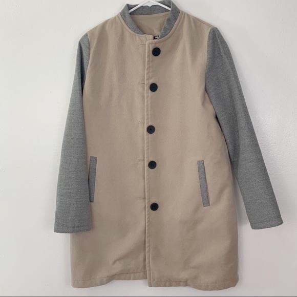 Jackets & Blazers - Beige and grey color block pea coat